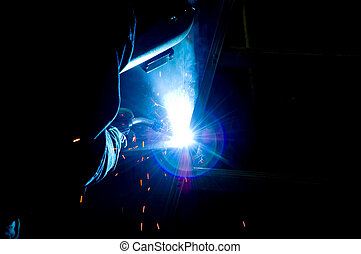 Mig welding some diagonal beams