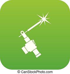 Mig welding torch in hand icon digital green