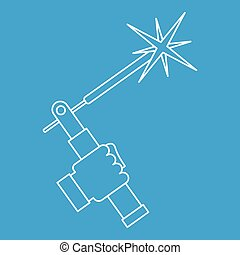 Mig welding torch in hand icon outline