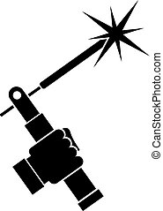 Mig welding torch in hand icon simple