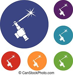 Mig welding torch in hand icons set