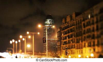 might shot of the torres agbar building in barcelona and...