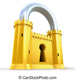 Mighty fortress as a padlock isolated on white