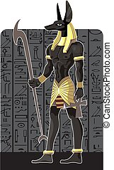 Mighty Great dark Anubis on Egypt background