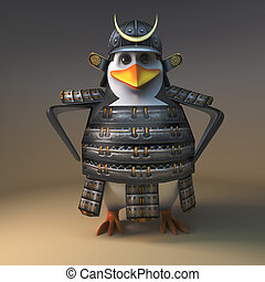 Mighty Japanese samurai warrior penguin stands relaxed with hands on hips, 3d illustration