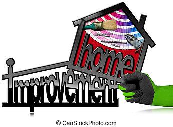 miglioramento casa, simbolo, con, lavoro, attrezzi