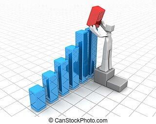 miglioramento, crescita, finanziario, soluzione, o