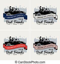 migliori amici, e, amicizia, logotipo, o, bandiera, design.