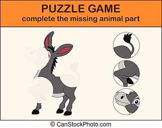 mignon, âne, image, complet, disparu, cartoon., puzzle, parties, trouver