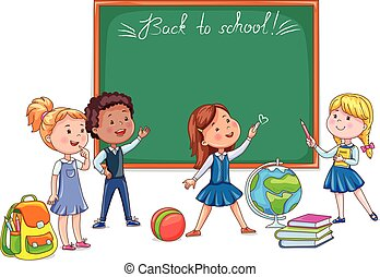 mignon, école, autour de, dos, enfants, panneau craie, dessin