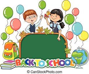 mignon, école, dos, signe, clair, planche, vide, ballons, enfants