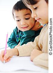 mignon, école, fonctionnement, leur, deux, ensemble, garçons, devoirs