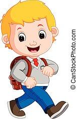 mignon, école, sien, manière, garçon