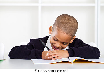 mignon, écolier, primaire, écriture