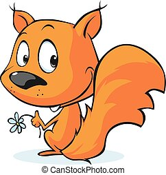 mignon, écureuil, isolé, o, vecteur, rouges