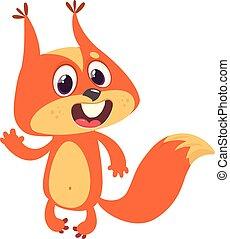 mignon, écureuil, main., onduler, présentation, dessin animé