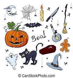 mignon, éléments, ensemble, main, dessiné, halloween