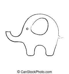 mignon, éléphant, bébé, icône