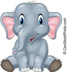 mignon, éléphant, dessin animé, séance