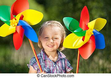 mignon, éoliennes, jouet, petite fille