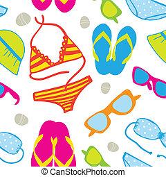 mignon, été, seamless, fond, vacances