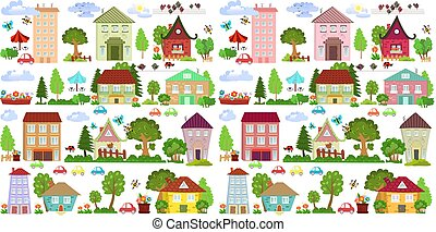 mignon, été, ville, conception, ton, paysage