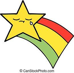 mignon, étoile filante, dessin animé, arc-en-ciel