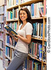 mignon, étudiant, livre, tenue