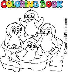 mignon, 2, livre coloration, pingouins
