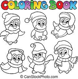 mignon, 3, livre coloration, pingouins