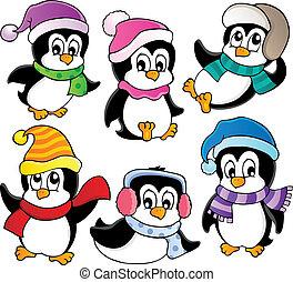 mignon, 3, pingouins, collection