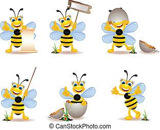 mignon, abeille, dessin animé, collection