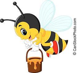mignon, abeille, dessin animé