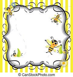 mignon, abeille, douche bébé, fête