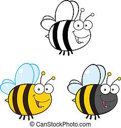 mignon, abeille, ., ensemble, collection, 3