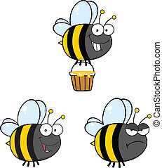 mignon, abeille, ., ensemble, collection, 4