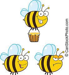 mignon, abeille, ., ensemble, collection, 5