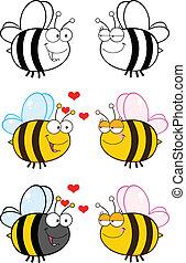 mignon, abeille, ., ensemble, collection, 6