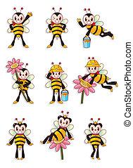 mignon, abeille, icônes, ensemble