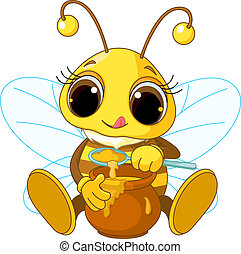 mignon, abeille, manger, miel