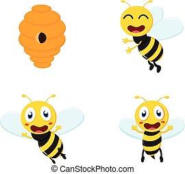 mignon, abeille miel, dessin animé, collection, ensemble