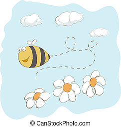 mignon, abeille, voler, autour de, fleurs