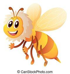 mignon, abeille, voler, blanc, fond
