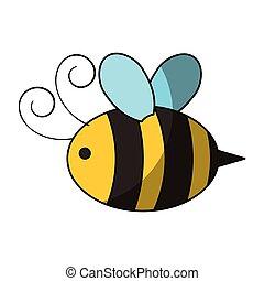 mignon, abeille, voler, icône
