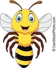 mignon, abeille, voler, isolé
