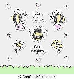 mignon, abeilles, ensemble