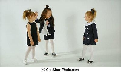 mignon, adorable, enfants, amusant, ensemble, isolé, blanc, fond