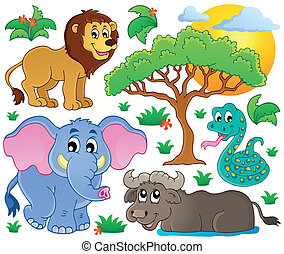 mignon, africaine, animaux, collection, 2