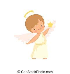 mignon, agréable, ange, garçon, nimbus, étoile, doré, caractère, illustration, dessin animé, vecteur, cupidon, tenant bébé, chérubin, ou, ailes, déguisement