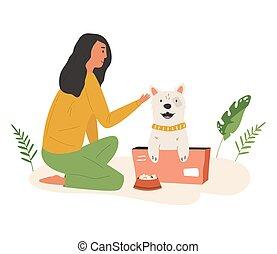 mignon, alimentation, rue, volontaire, girl, jeune, chien